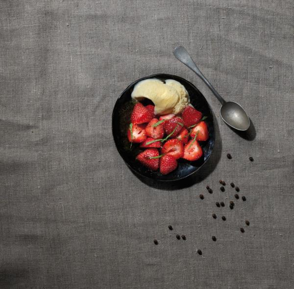 Strawberry salad, balsamic vinegar, vanilla ice cream