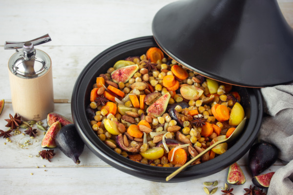 Tagine of carrots, figs, onions and candied lemons