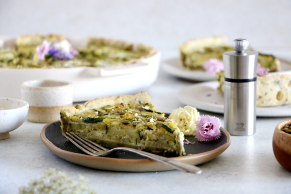 Zucchini Quiche with Pesto and Seeds