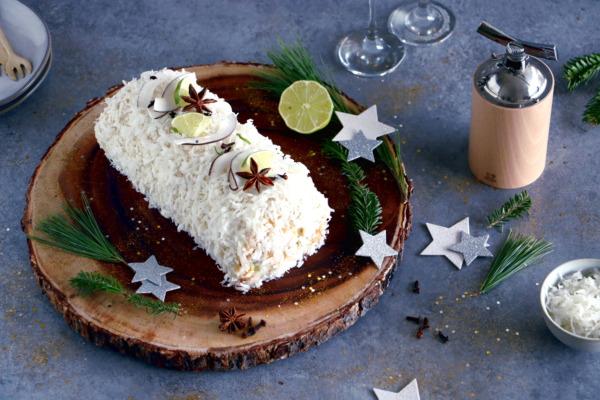 Bûche exotique mangue-coco aux épices de Noël