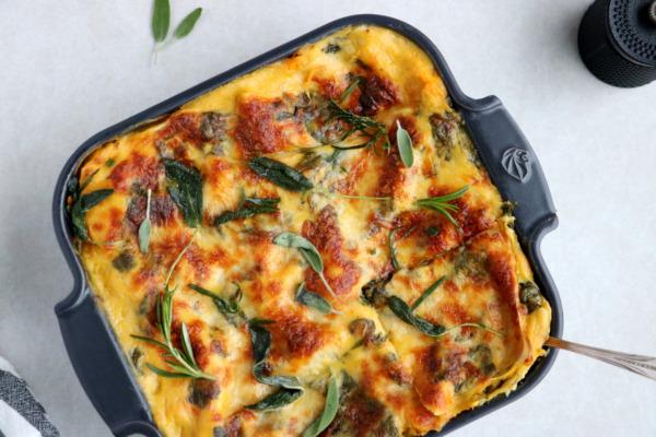 Lasagnes à la courge butternut, épinards et chèvre